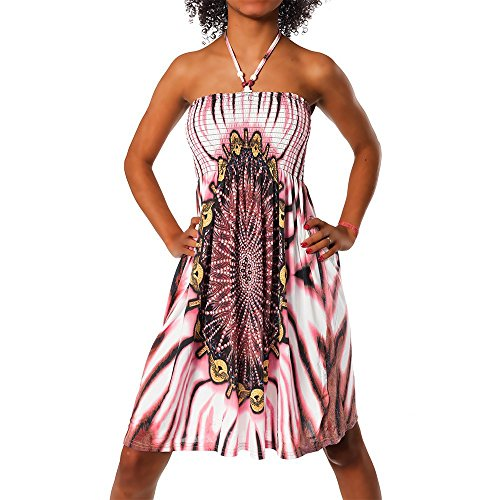 H112 Damen Sommer Aztec Bandeau Bunt Tuch Kleid Tuchkleid Strandkleid Neckholder, Farben:F-021_Rot;Größen:Einheitsgröße Bandeau-kleid