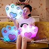 Fengh con luz LED que emite hasta 7cambia de color oso Palm manta almohada cojín suave sofá coche Linen Blanco