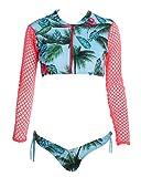Damen Reizvolles Bademode Badeanzüge Reißverschluss Bikini Zwei Stück Lange Ärmel Trand Surf Badeanzug mit Niedrige Taille Bikinis Abgebildet L