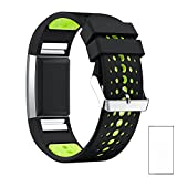 #5: J Replacement Soft Double Color Silicone Watch Strap Band For Fitbit Charge 2 (5.5-8.1) (Plus Screen Guard ) Watch Not Included