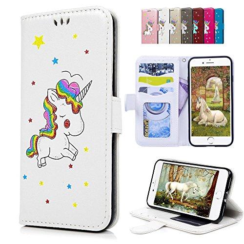 iPhone 6S Plus 6 Plus Lederhülle, E-Unicorn Handyhülle Apple iPhone 6S Plus 6 Plus Hülle Einhorn Leder Case Glitzer Muster Schutzhülle Flip Case Tasche Klapp Hülle mit Kartenfach + Silikon - Rosa Iphone Geldbörse Leder Plus 6