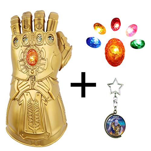 FUGUI Thanos Infinity Handschuh für Cosplay, Heroes Unendlichkeit Edelsteine, Avengers Infinity War (LED Gems Separable)