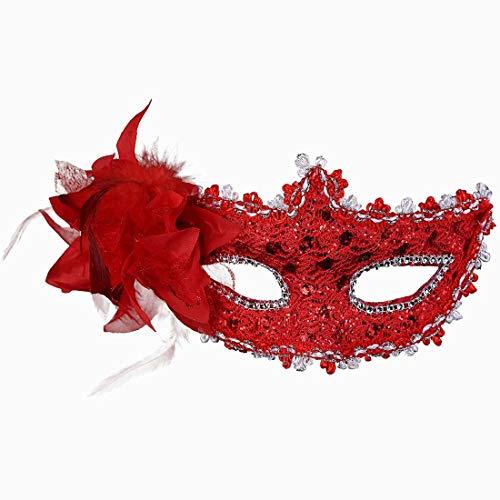 Xiton Frauen Venedig Sexy Spitzen-Maske mit Strass Kostüm Masquerade Maske für Karneval, anonyme venezianischen Karnevalsmaske und Tanz, rot