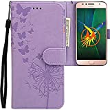 CLM-Tech kompatibel mit Motorola Moto G5S Plus Hülle, PU Leder-Tasche mit Stand, Kartenfächern, Lederhülle Kunstleder, Schmetterlinge Pusteblume lila