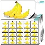 480 x Aufkleber - Bananen . Hochwertige selbstklebende Etiketten mit