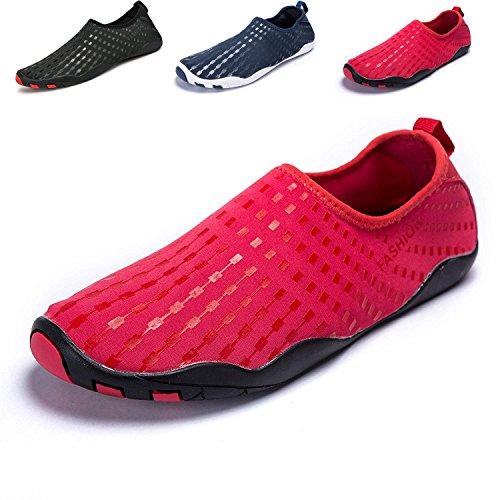 LeKuni Badeschuhe Damen Herren Schwimmschuhe Kinder Surfschuhe Barfus Schuhe Wasserschuhe Strandschuhe Aquaschuhe Rutschfeste Neoprenschuhe (43Label=44EU,RotDXD)