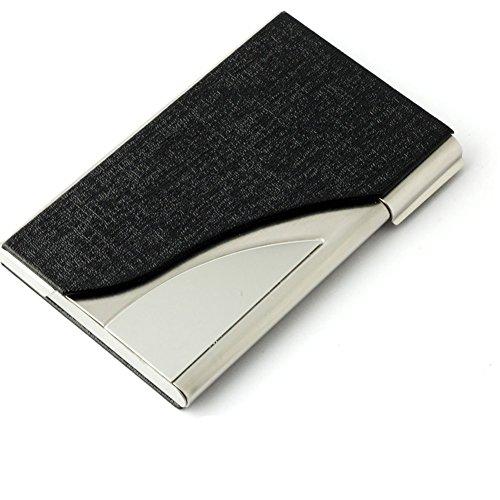 Tobeit Metall Etui Visitenkarten aus PU Leder und Edelstahl Visitekartenetui/Visitenhalter für Mann und Frauen (schwarz)