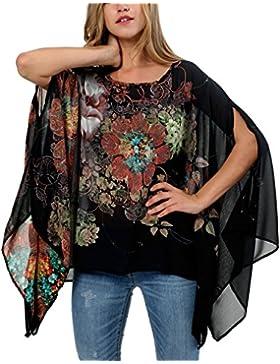 KorMei - Camisas - Túnica - Cuello redondo - Manga corta - para mujer