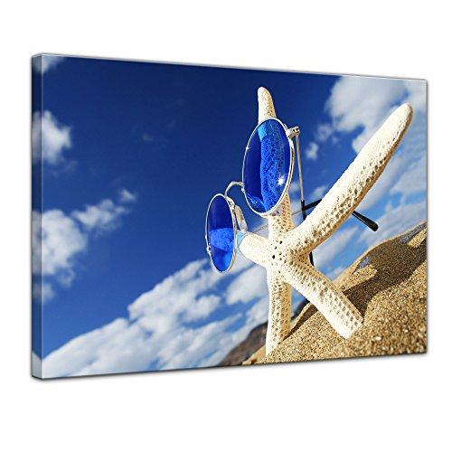 Keilrahmenbild - Seestern - Bild auf Leinwand 120 x 90 cm - Leinwandbilder - Bilder als Leinwanddruck - Urlaub, Sonne & Meer - Blauer Himmel - Seestern mit Sonnenbrille