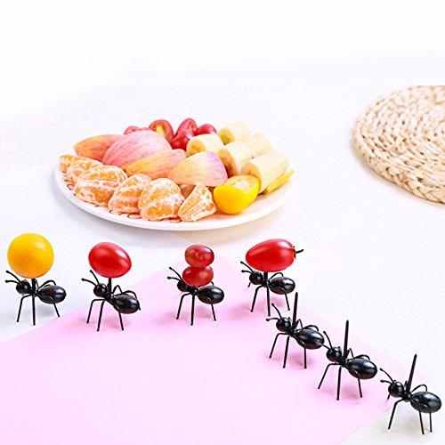 Happyshop 36 Stück süße Ameisenform Lebensmittel Obst Picks Mini Kunststoff Zahnstocher Dessert Gabeln Set Snack Dessert Gabeln Kinder Geburtstag Party Kuchen Picks Home Küche Gadgets Dekoration (Spaß, Kinder Für Einfache Halloween-desserts)