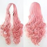 Zyjfp Long Roll Perücke, Hochtemperatur-Seide Fashion Multicolor Wave Perücke,Pink