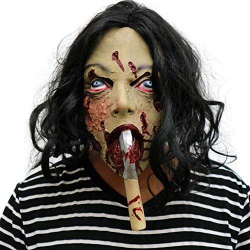 S+S Halloween Scary Mask Horror Haunted House Axt Ghost Mit Haar Secret Room Hood Requisiten Ordentlich Requisiten Zombie Kostüm Party Gummi Latex Maske (Einfach Scary Halloween Requisiten)