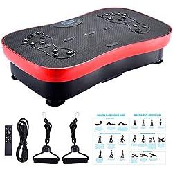 FITODO Plataforma Vibratoria--Aptitud para el hogar y la Oficina/Entrenamiento de Equilibrio/Ejercicios de Estiramiento/Música Bluetooth/Bandas de Resistencia (Carga máxima 330 lbs)