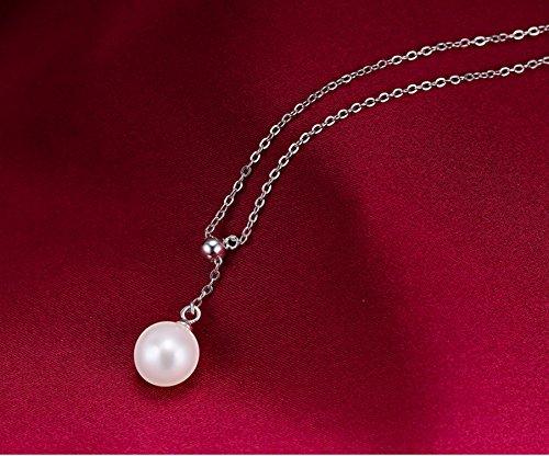 Test Damen 925 Sterling Silber Lariat Halskette Perlen Anhänger ... 992f0df161