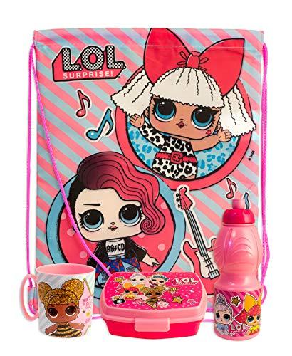 Lol surprise - set merenda scuola gita 4 pz sacca, borraccia, porta-merenda e tazza - bambina - prodotto originale