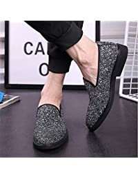 YAN Zapatos de Hombre Moccasin Glitter Glitter Verano/Otoño British Mocasines y Slip-Ons