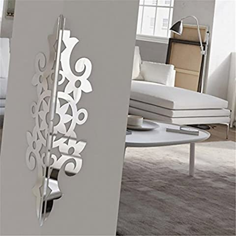 Yanqiao 10PCS Acrylic Mirror 1PC Stainless Steel Corner Protection European Style Wall Stickers Removable Living Room Home Wall Decor