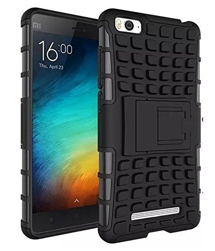 Wow Imagine Defender Tough Hybrid Armour Shockproof Hard PC And Tpu With Kick Stand Rugged Back Case Cover For Xiaomi Mi 4I - Black