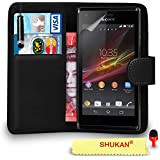 Sony Xperia M Premium Leather BLACK Wallet Flip Case Cover Pouch with Mini Touch Stylus Pen RED Dust Stopper Screen Protector & Polishing Cloth SVL1 BY SHUKAN®, (WALLET BLACK)
