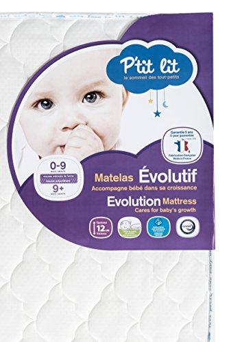 P'tit Lit - Matelas bébé Mémoire de forme - 60 x 120 x 12 cm - Ergonomique - Anti-acariens - Premium - Fabrication française