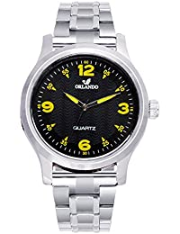 Orlando® Branded Japan Movement Chronograph Look With Black Dial & Silver Stainless Steel Belt Watches For Men - W1301S2B