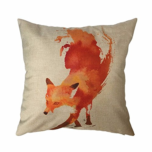 omikyr-1818inches-square-linen-pillow-cover-cute-animal-decor-cushion-case-fox
