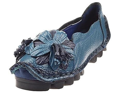Vogstyle Femme Fleur en Cuir Slip-on Style-1 Bleu