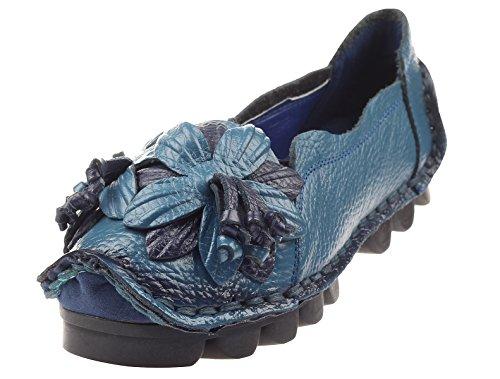 Vogstyle Damen Frühjahr/Sommer Weinlese Blumen Handgemachte Lederschuhe Flats Art 1 Blau EU38/CH39 - Fabelhafte Leder-stiefelette