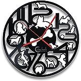 Reloj de pared divertido del expediente del vinilo de los perros, diseño del perro del animal doméstico, pequeña decoración del arte de los animales domésticos de los perritos por Handmade Solutions