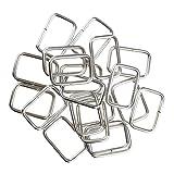MagiDeal 20 Stück Metall Rechteck Ring Keine geschweißt für D Dee Ring Gurtband Gürtel Band Schnallen - Silber, 25x16x2.8mm