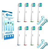 SoniWhite® Premium 8 Pack SEB17 Compatible Flexisoft TESTINE DI RICAMBIO GENERICHE PER SPAZZOLINI ORAL B MODELLO compatibile with Oral-B / Braun Vitality Precision Clean, White Clean, Sensitive Clean, Oral-B Professional Care,Compatible with the following Vitality Floss Action, Vitality Dual Clean, Vitality CrossAction, Vitality Precision Clean, Vitality Pro White, Vitality Sensitive, Vitality TriZone, immagine