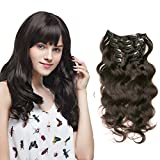 8A 7 Pcs Wavy Clip In Hair Extensions Full Head 16 Clips Real