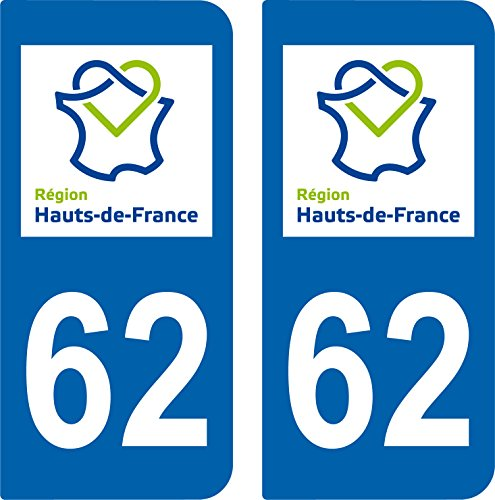 2 Stickers style Plaque AUTO Immatriculation 62 HAUTS DE FRANCE