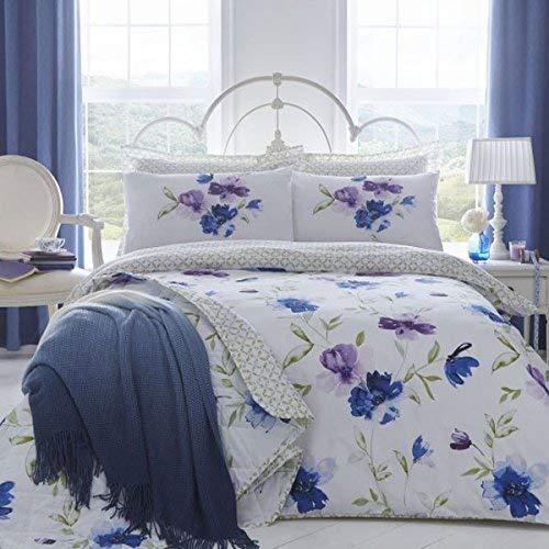 Dnd 'celestino blu e viola grande volto floreale acquerello con circolare traliccio reverse set copripiumino matrimoniale, super king
