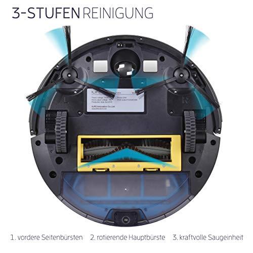Saugroboter ILIFE A4s automatischer Staubsauger Roboter | Borstenbürste für kurzflorigen Teppich | leiser Betrieb über 2 Stunden staubsaugen | Fallschutz | Beutellos | Staubtank 450ml | Ladestation - 2