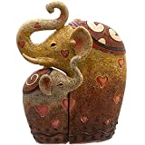 Something Different Pair of Elephants Ornament, Brown/White