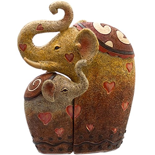 PAIR of HUGGING ELEPHANTS - Resin Ornament - Set of 2 -...