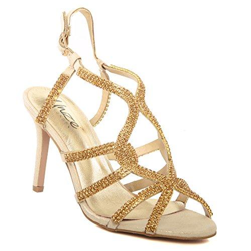 Unze Le nuove donne Ladies 'Belaa' Diamante ha abbellito il cinturino alla caviglia peep toe Mid tacco alto da sera, da sposa, partito di promenade scarpe Dimensioni 3-8 Oro
