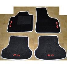 Audi A38P 8PA a partir de 2003al 2012Alfombras para coche color negro con borde gris perla y Solera negro, Juego Completo de Alfombras de Moqueta sobre tamaño con bordado de hilo rojo