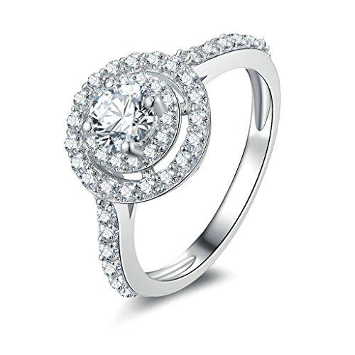 Daesar Joyería Compromiso Anillo de Plata, Sortija para Mujer Personalizado Halo de Diamante Imitación Sello y Pequeño, Tamaño 21