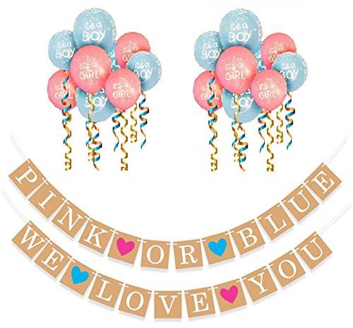 HAVILAH TECHNOLOGIES Boy oder Girl Banner und Geschlecht Zeigen Ballons Set, Baby-Dusche und Schwangerschaft Ankündigung - 20 Luftballons und Doppel Banner Set