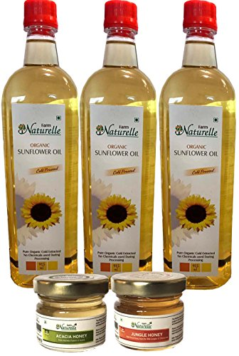 Farm Naturelle Organic Virgin Cold Pressed Golden Sunflower Cooking Oil, 915ml (Pack of 3) with Free Lichi and Wild Berry Honey, 40g (Pack of 2)