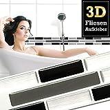 5 Stück 27,9 x 4,3 cm Fliesenaufkleber schwarz grau silber Ziegel I selbstklebende 3D Fliesen Küche Bad Fliesendekor Fliesenfolie Wandora W1497