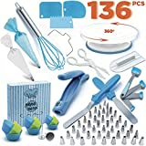 Cake Decorating Supplies Set 96 Pcs by Pepe Nero-Icing Tips, Rotating Turntable, Measuring