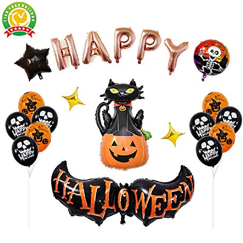 Yosposs halloween balloon set kz9527-w147 happy halloween letter balloons – zucca gigante, dancing skeleton, fantasma, pipistrello, spider – 8 style a confezione