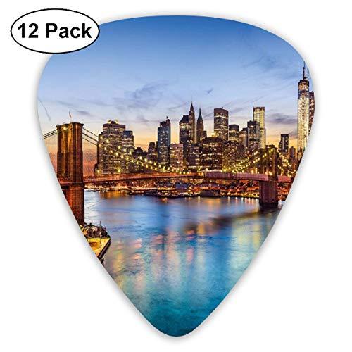 Celluloid Guitar Picks - 12 Pack,Abstract Art Colorful Designs,York City Skyline Over East River Brooklyn Bridge Twilight,For Bass Electric & Acoustic Guitars. (Bridge City Bulk)