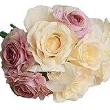 Yogogo Rose-Fälschungs-Silk Blumen-Blatt Künstliche Startseite Hochzeitsdeko Brautstrauß (lila)