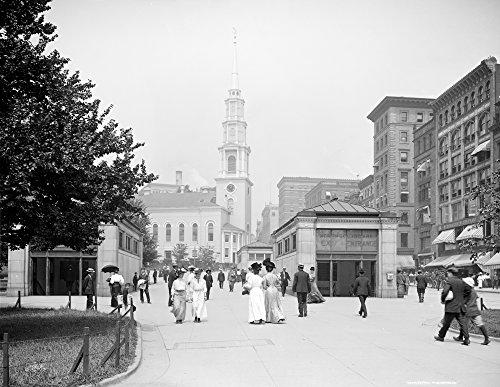 Boston: Park Street Church. /Nthe Park Street Church and Tremont Street Mall In Boston Massachusetts. Photograph C1906. Kunstdruck (60,96 x 91,44 cm)