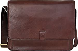 Hidesign Leather Brown Messenger Bag( AIDEN 01-REGULAR-BROWN)