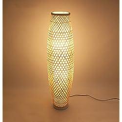 ZHDC® Lampe de plancher en bambou, Asie du Sud-Est Style japonais style rustique Salon de salon de salon Zen Nordic E27 * 3 Couleurs primaires en bambou lampadaire